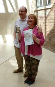 Me and my husband Paul at the medal presentation at the V&A